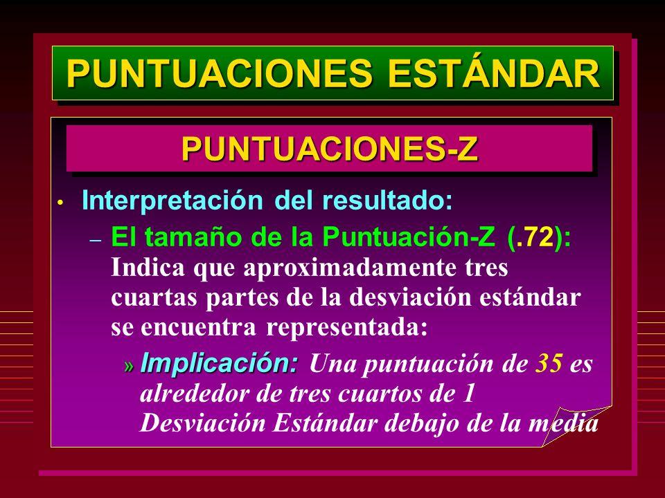 PUNTUACIONES ESTÁNDAR PUNTUACIONES-ZPUNTUACIONES-Z Interpretación del resultado: – El tamaño de la Puntuación-Z (.72): Indica que aproximadamente tres