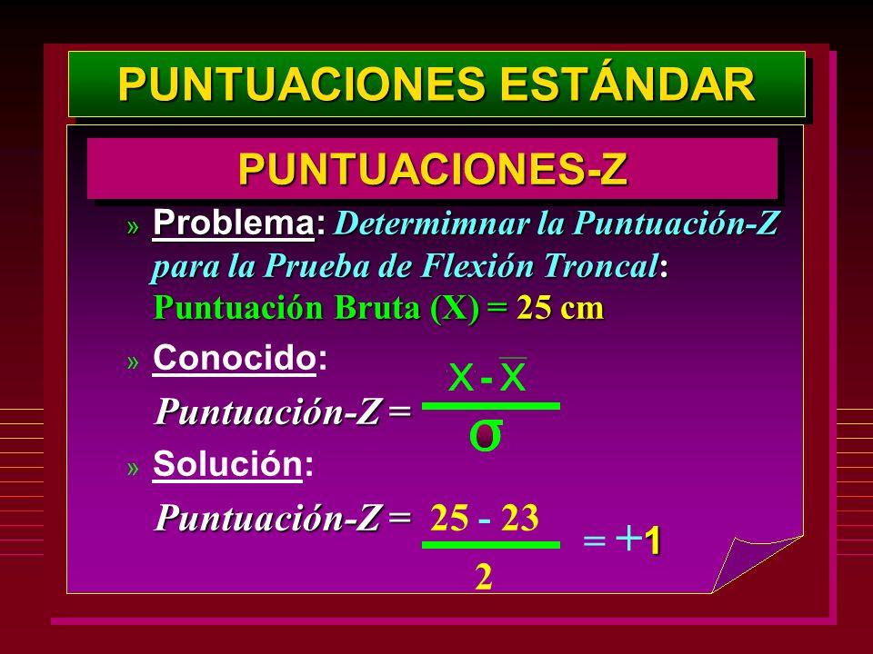 PUNTUACIONES ESTÁNDAR PUNTUACIONES-ZPUNTUACIONES-Z » Problema: Determimnar la Puntuación-Z para la Prueba de Flexión Troncal: Puntuación Bruta (X) = 2