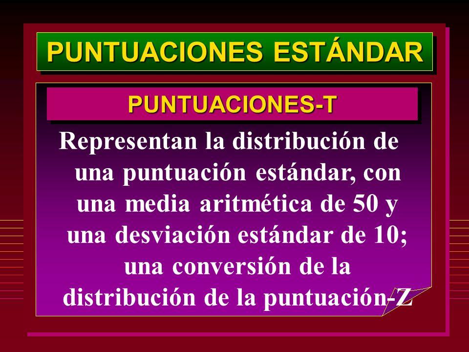PUNTUACIONES ESTÁNDAR PUNTUACIONES-TPUNTUACIONES-T Representan la distribución de una puntuación estándar, con una media aritmética de 50 y una desvia