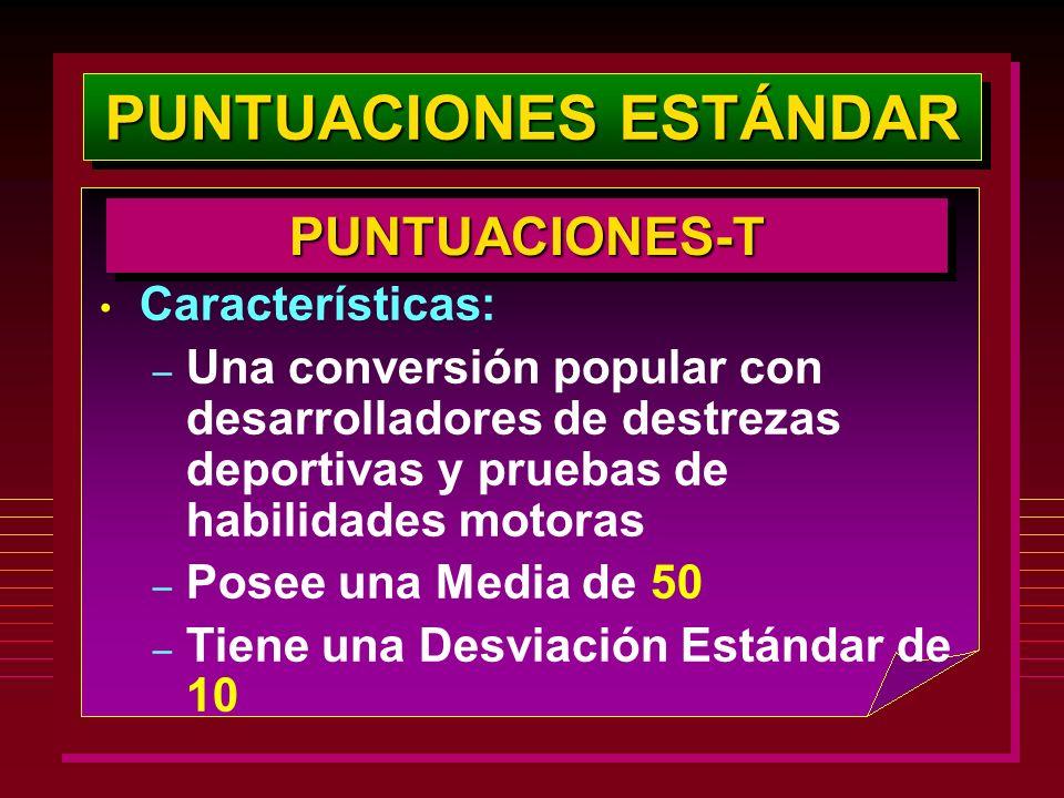 PUNTUACIONES ESTÁNDAR PUNTUACIONES-TPUNTUACIONES-T Características: – Una conversión popular con desarrolladores de destrezas deportivas y pruebas de