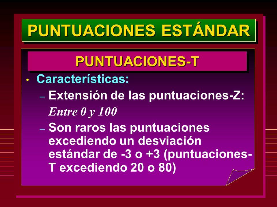 PUNTUACIONES ESTÁNDAR PUNTUACIONES-TPUNTUACIONES-T Características: – Extensión de las puntuaciones-Z: Entre 0 y 100 – Son raros las puntuaciones exce