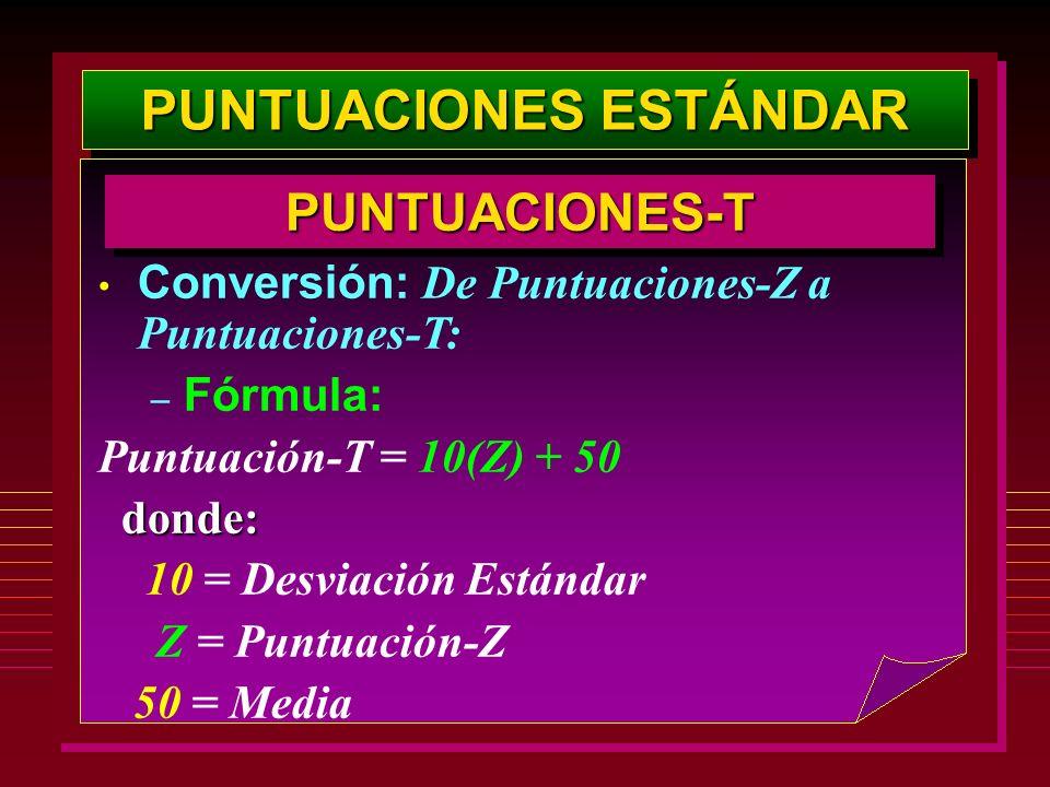 PUNTUACIONES ESTÁNDAR PUNTUACIONES-TPUNTUACIONES-T Conversión: De Puntuaciones-Z a Puntuaciones-T: – Fórmula: Puntuación-T = 10(Z) + 50 donde: 10 = De