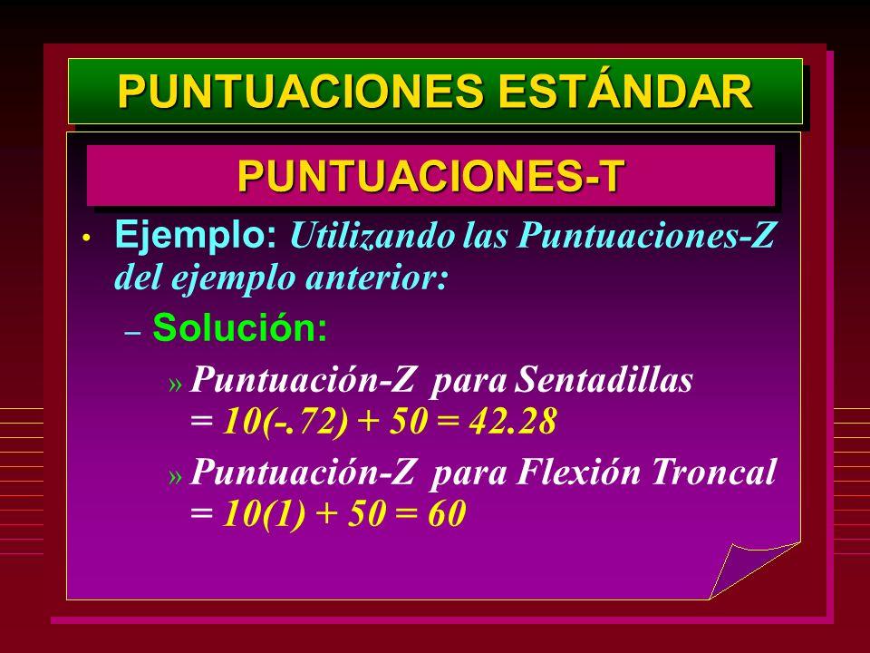 PUNTUACIONES ESTÁNDAR PUNTUACIONES-TPUNTUACIONES-T Ejemplo: Utilizando las Puntuaciones-Z del ejemplo anterior: – Solución: » Puntuación-Z para Sentad