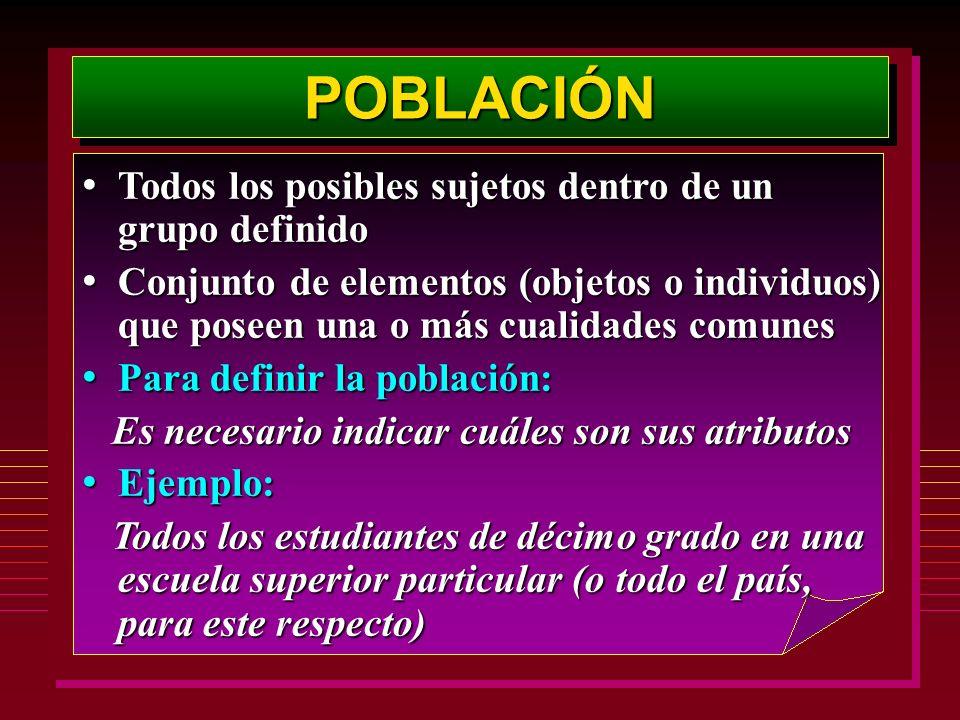POBLACIÓNPOBLACIÓN Todos los posibles sujetos dentro de un grupo definido Todos los posibles sujetos dentro de un grupo definido Conjunto de elementos