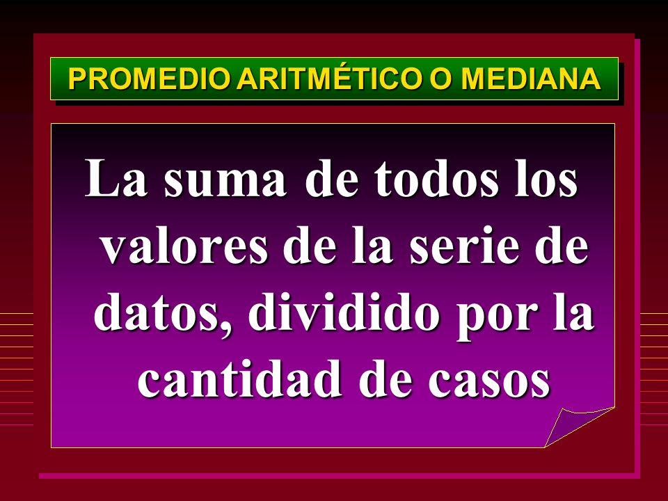 PROMEDIO ARITMÉTICO O MEDIANA La suma de todos los valores de la serie de datos, dividido por la cantidad de casos