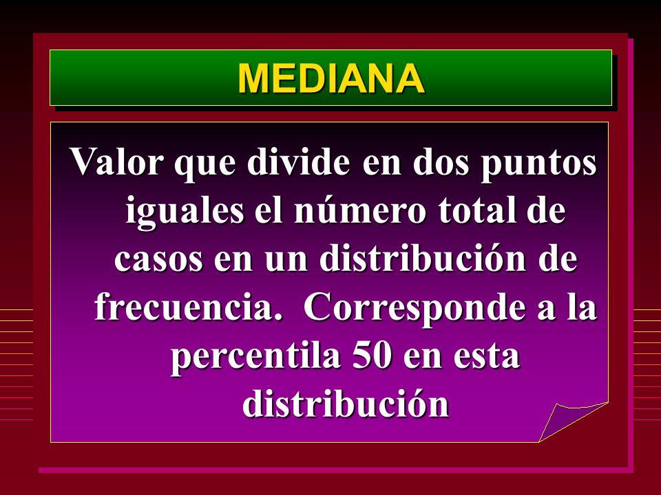 MEDIANAMEDIANA Valor que divide en dos puntos iguales el número total de casos en un distribución de frecuencia. Corresponde a la percentila 50 en est