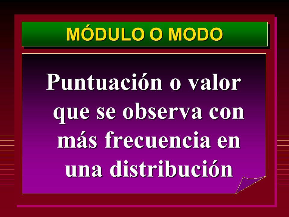 MÓDULO O MODO Puntuación o valor que se observa con más frecuencia en una distribución