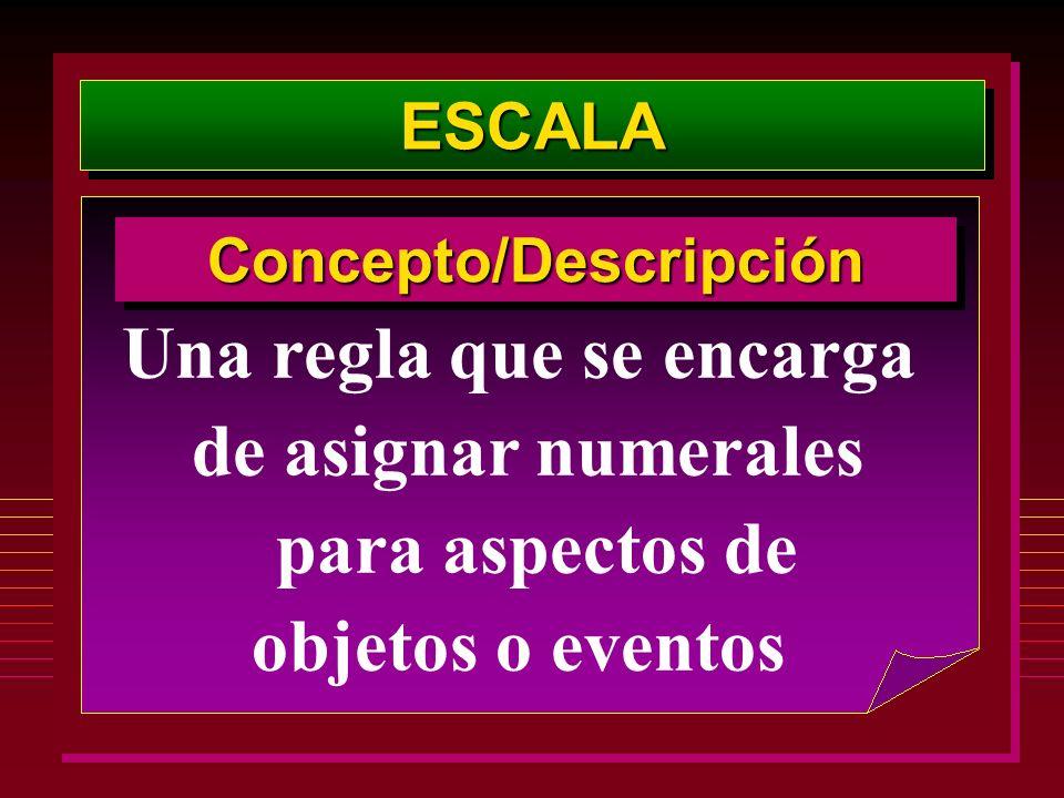 ESCALAESCALA Una regla que se encarga de asignar numerales para aspectos de objetos o eventos Concepto/DescripciónConcepto/Descripción