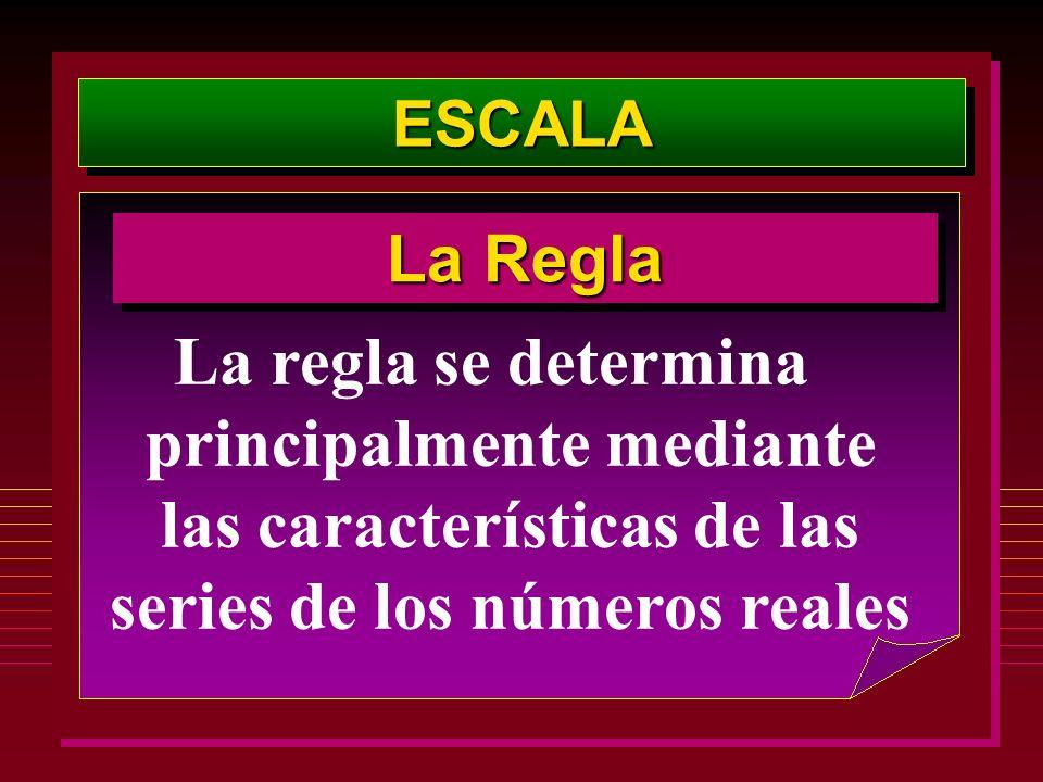 ESCALAESCALA La regla se determina principalmente mediante las características de las series de los números reales La Regla