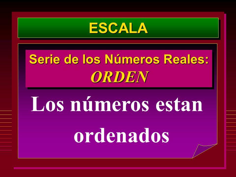 ESCALAESCALA Los números estan ordenados Serie de los Números Reales: ORDEN ORDEN