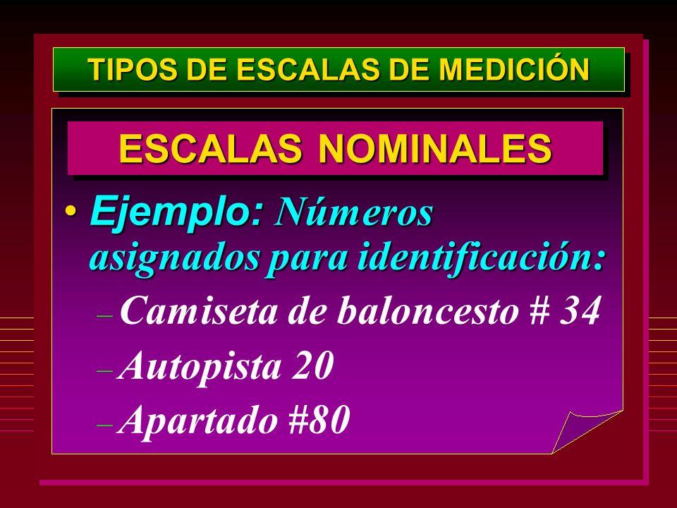 TIPOS DE ESCALAS DE MEDICIÓN Ejemplo: Números asignados para identificación:Ejemplo: Números asignados para identificación: – Camiseta de baloncesto #