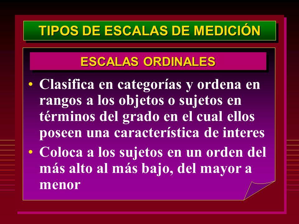TIPOS DE ESCALAS DE MEDICIÓN Clasifica en categorías y ordena en rangos a los objetos o sujetos en términos del grado en el cual ellos poseen una cara