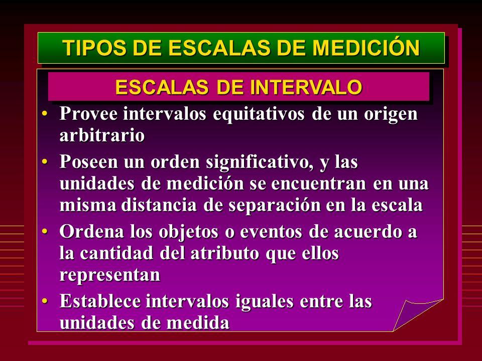 TIPOS DE ESCALAS DE MEDICIÓN Provee intervalos equitativos de un origen arbitrarioProvee intervalos equitativos de un origen arbitrario Poseen un orde