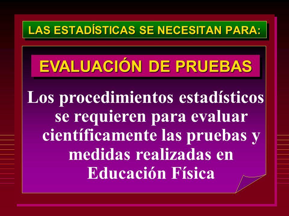 LAS ESTADÍSTICAS SE NECESITAN PARA: Los procedimientos estadísticos se requieren para evaluar científicamente las pruebas y medidas realizadas en Educ