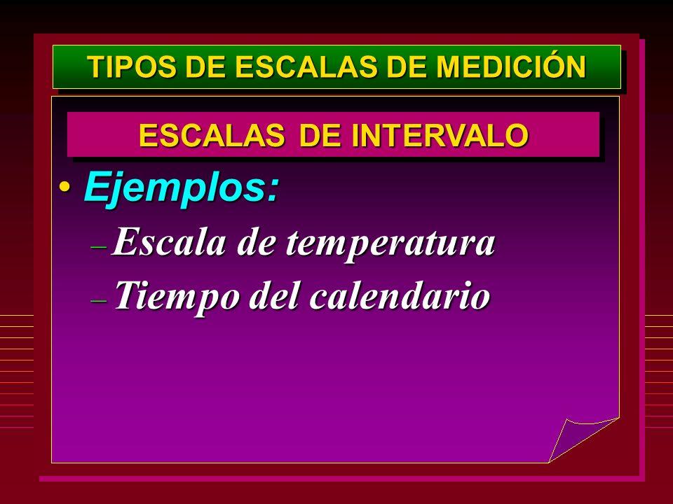 TIPOS DE ESCALAS DE MEDICIÓN Ejemplos:Ejemplos: – Escala de temperatura – Tiempo del calendario ESCALAS DE INTERVALO