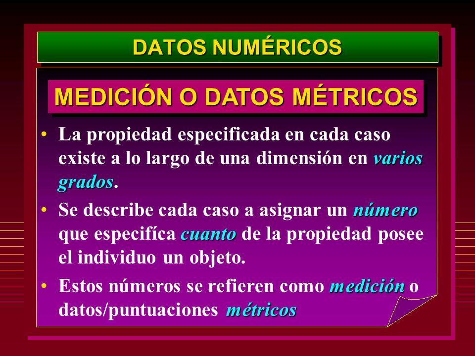 DATOS NUMÉRICOS varios gradosLa propiedad especificada en cada caso existe a lo largo de una dimensión en varios grados. número cuantoSe describe cada