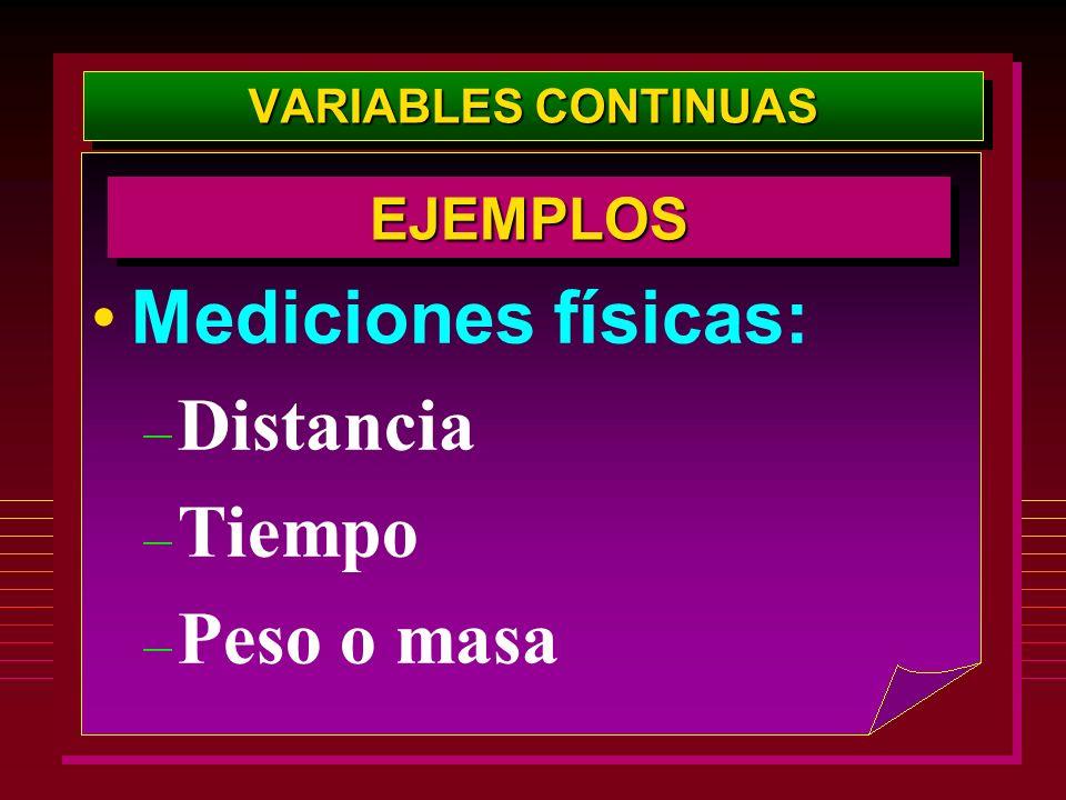 VARIABLES CONTINUAS Mediciones físicas: – Distancia – Tiempo – Peso o masa EJEMPLOSEJEMPLOS