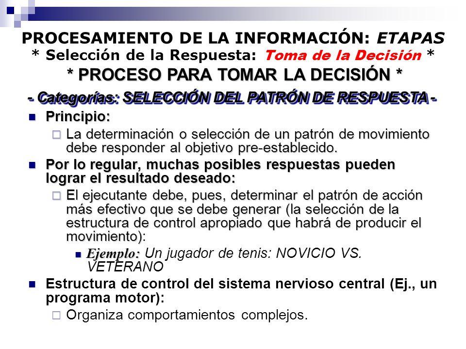 PROCESAMIENTO DE LA INFORMACIÓN: ETAPAS * Selección de la Respuesta: Toma de la Decisión * Principio: Principio: La determinación o selección de un pa