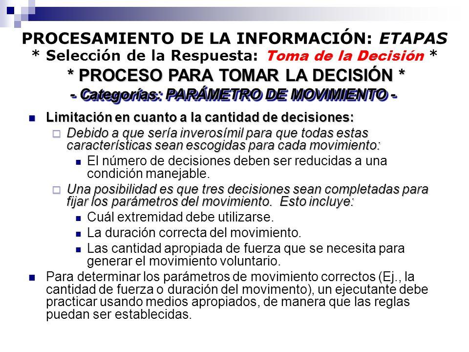 PROCESAMIENTO DE LA INFORMACIÓN: ETAPAS * Selección de la Respuesta: Toma de la Decisión * Limitación en cuanto a la cantidad de decisiones: Limitació