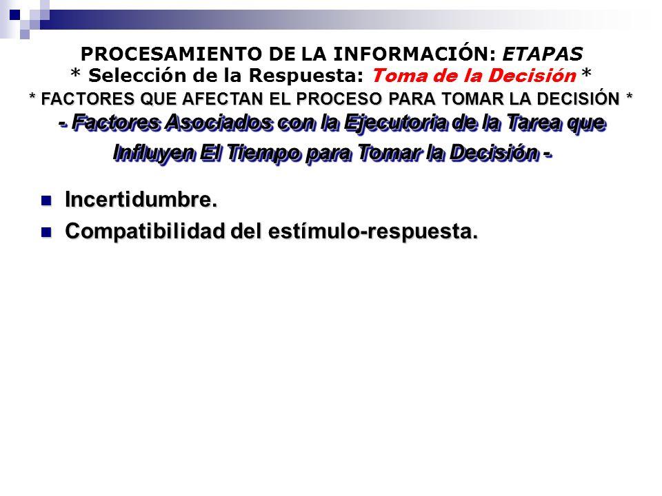 PROCESAMIENTO DE LA INFORMACIÓN: ETAPAS * Selección de la Respuesta: Toma de la Decisión * Incertidumbre. Incertidumbre. Compatibilidad del estímulo-r