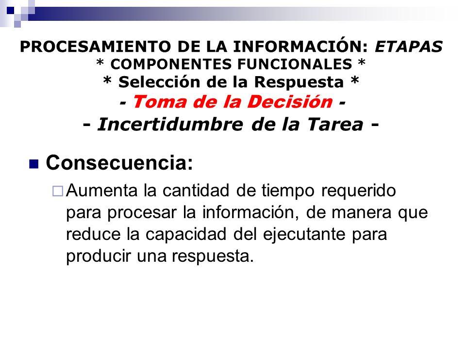 PROCESAMIENTO DE LA INFORMACIÓN: ETAPAS * COMPONENTES FUNCIONALES * * Selección de la Respuesta * - Toma de la Decisión - - Incertidumbre de la Tarea