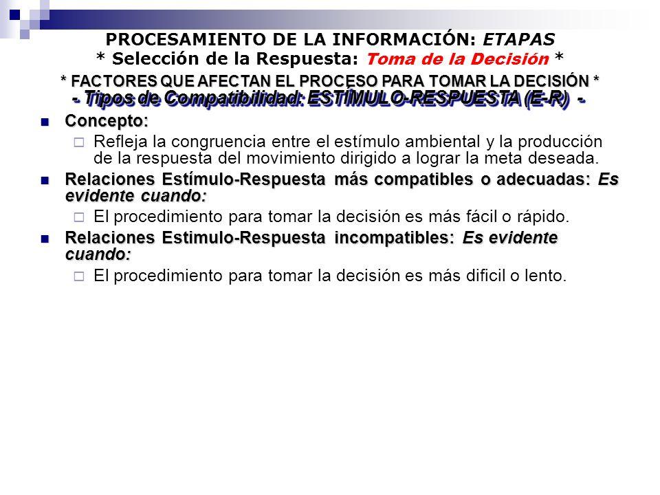 PROCESAMIENTO DE LA INFORMACIÓN: ETAPAS * Selección de la Respuesta: Toma de la Decisión * Concepto: Concepto: Refleja la congruencia entre el estímul