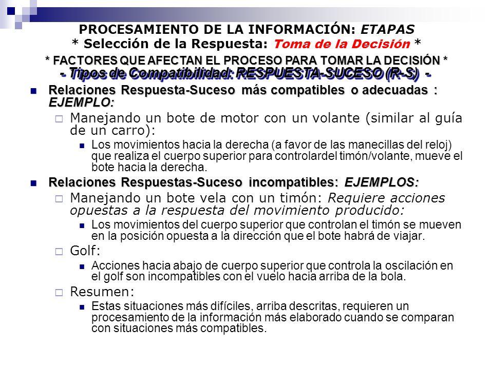 PROCESAMIENTO DE LA INFORMACIÓN: ETAPAS * Selección de la Respuesta: Toma de la Decisión * Relaciones Respuesta-Suceso más compatibles o adecuadas : E