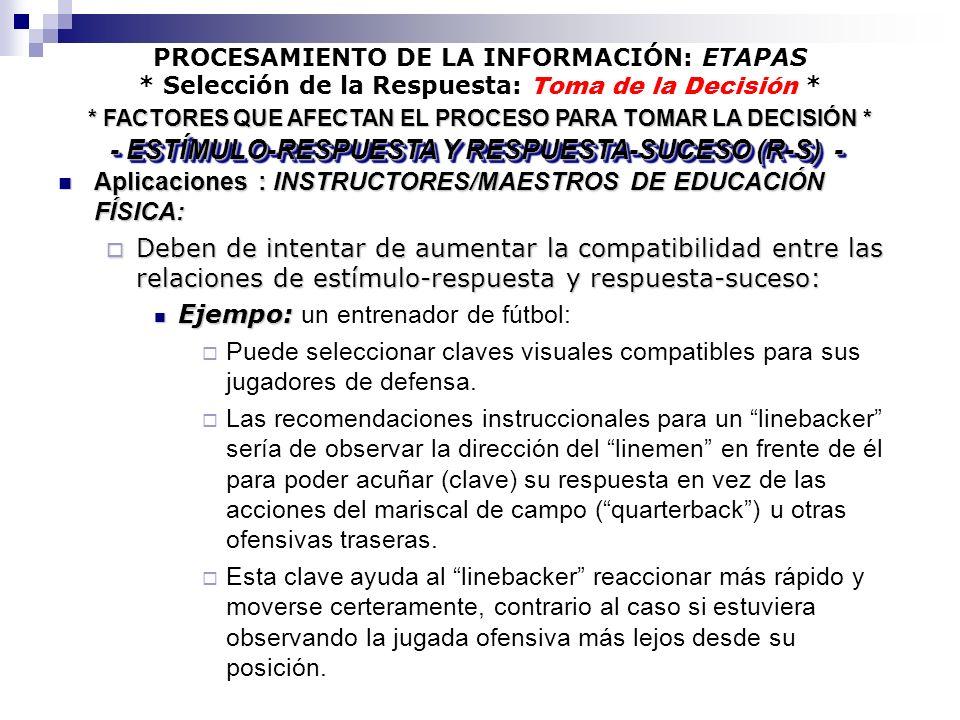 PROCESAMIENTO DE LA INFORMACIÓN: ETAPAS * Selección de la Respuesta: Toma de la Decisión * Aplicaciones : INSTRUCTORES/MAESTROS DE EDUCACIÓN FÍSICA: A