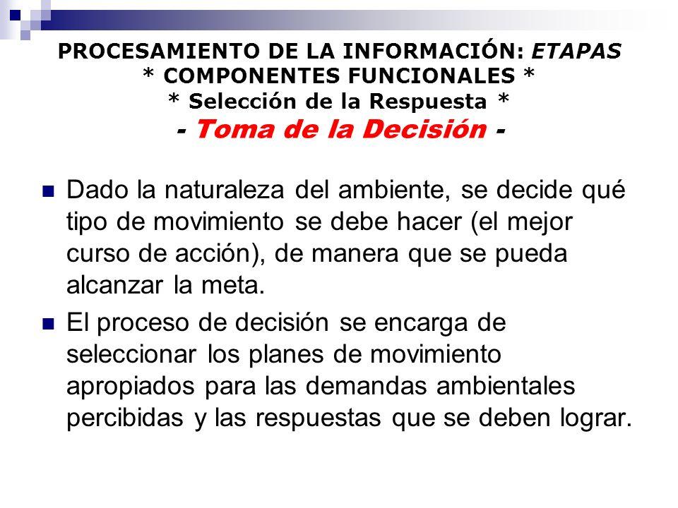 PROCESAMIENTO DE LA INFORMACIÓN: ETAPAS * COMPONENTES FUNCIONALES * * Selección de la Respuesta * - Toma de la Decisión - Dado la naturaleza del ambie