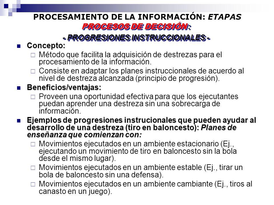PROCESAMIENTO DE LA INFORMACIÓN: ETAPAS Concepto: Concepto: Método que facilita la adquisición de destrezas para el procesamiento de la información. C