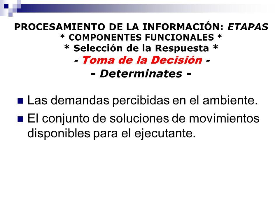 PROCESAMIENTO DE LA INFORMACIÓN: ETAPAS * COMPONENTES FUNCIONALES * * Selección de la Respuesta * - Toma de la Decisión - - Determinates - Las demanda