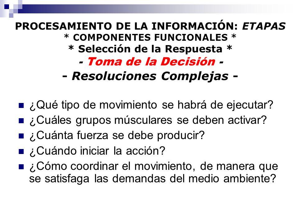 PROCESAMIENTO DE LA INFORMACIÓN: ETAPAS * COMPONENTES FUNCIONALES * * Selección de la Respuesta * - Toma de la Decisión - - Resoluciones Complejas - ¿