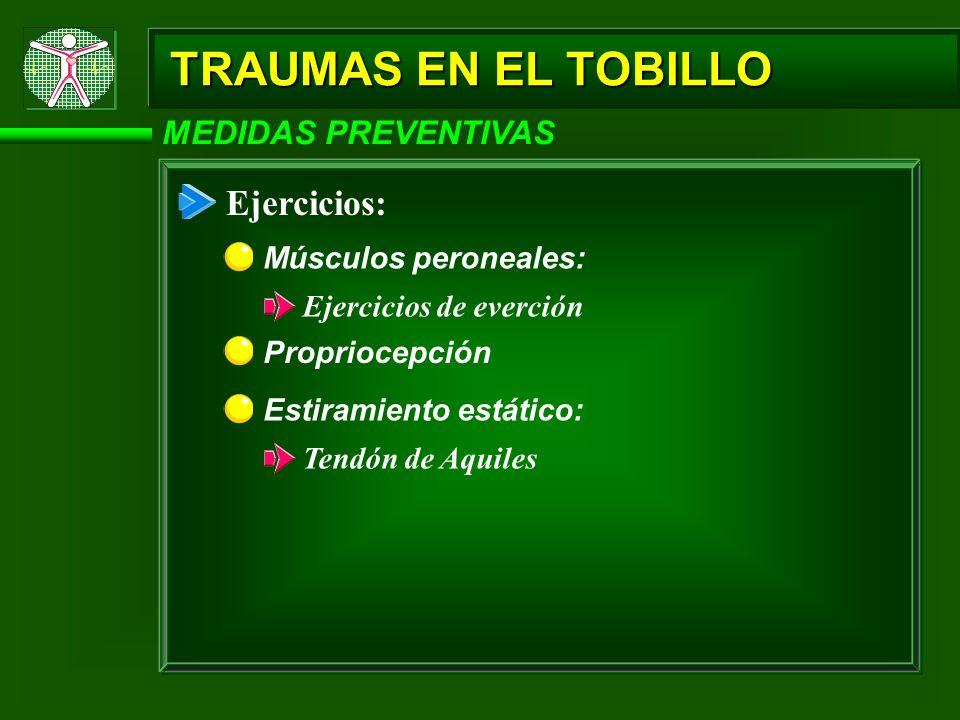 Ejercicio MEDIDAS PREVENTIVAS: Ejercicio Fortalecimiento de los músculos: Los principales músculos que pueden ayudar a la prevención de lesiones en el toibillo son: los m;usculos plantares del pie, el grupo peroneal y el complejo gasatronemio-sóleo.