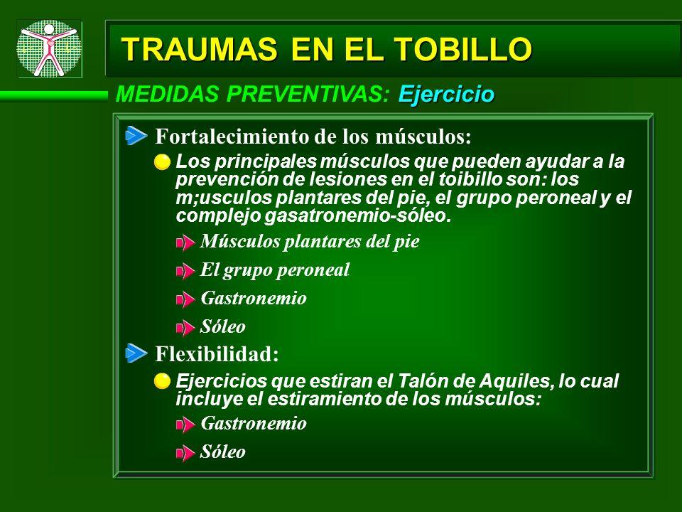 Ejercicio MEDIDAS PREVENTIVAS: Ejercicio Fortalecimiento de los músculos: Los principales músculos que pueden ayudar a la prevención de lesiones en el