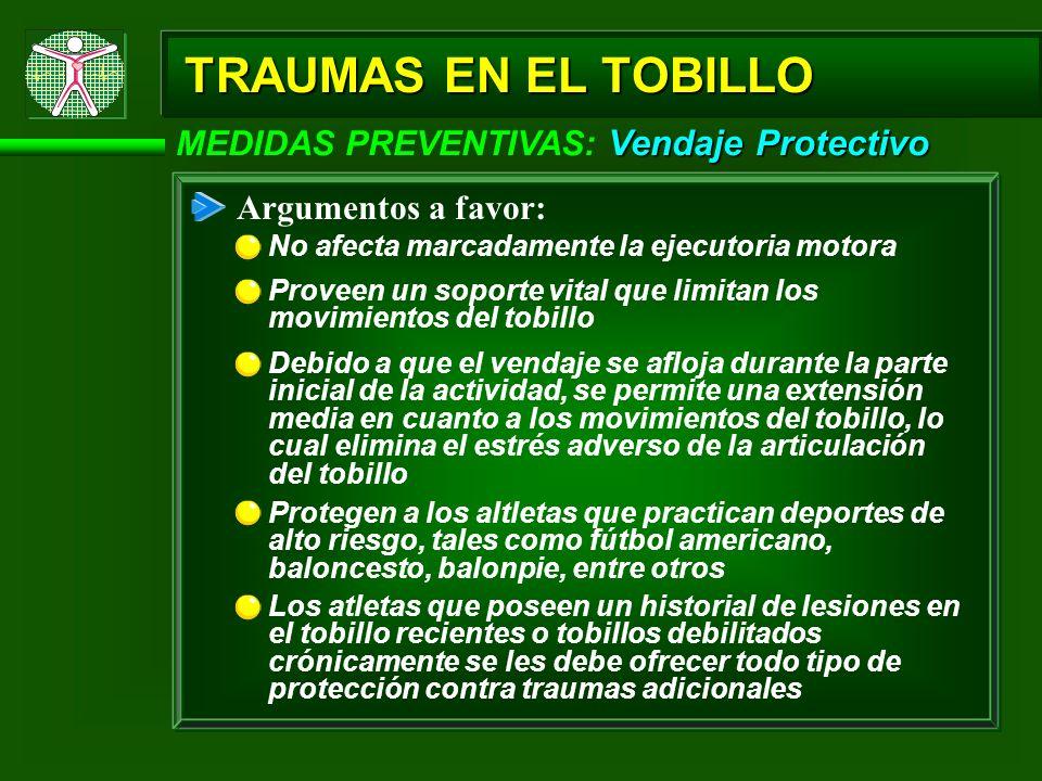 Vendaje Protectivo MEDIDAS PREVENTIVAS: Vendaje Protectivo Argumentos a favor: No afecta marcadamente la ejecutoria motora TRAUMAS EN EL TOBILLO Prove