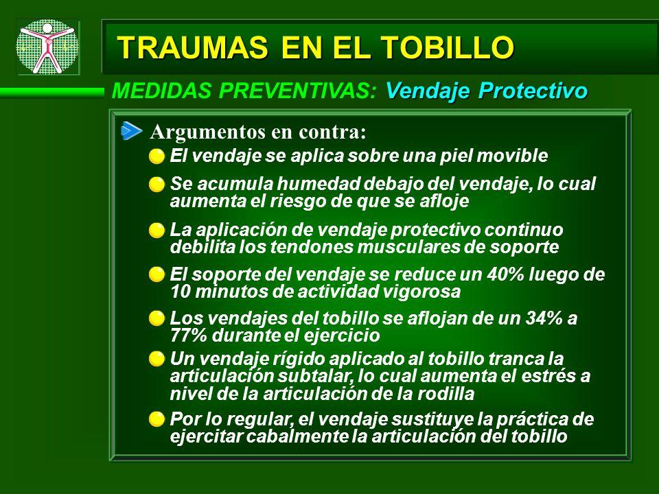 Vendaje Protectivo MEDIDAS PREVENTIVAS: Vendaje Protectivo Argumentos en contra: El vendaje se aplica sobre una piel movible TRAUMAS EN EL TOBILLO Se