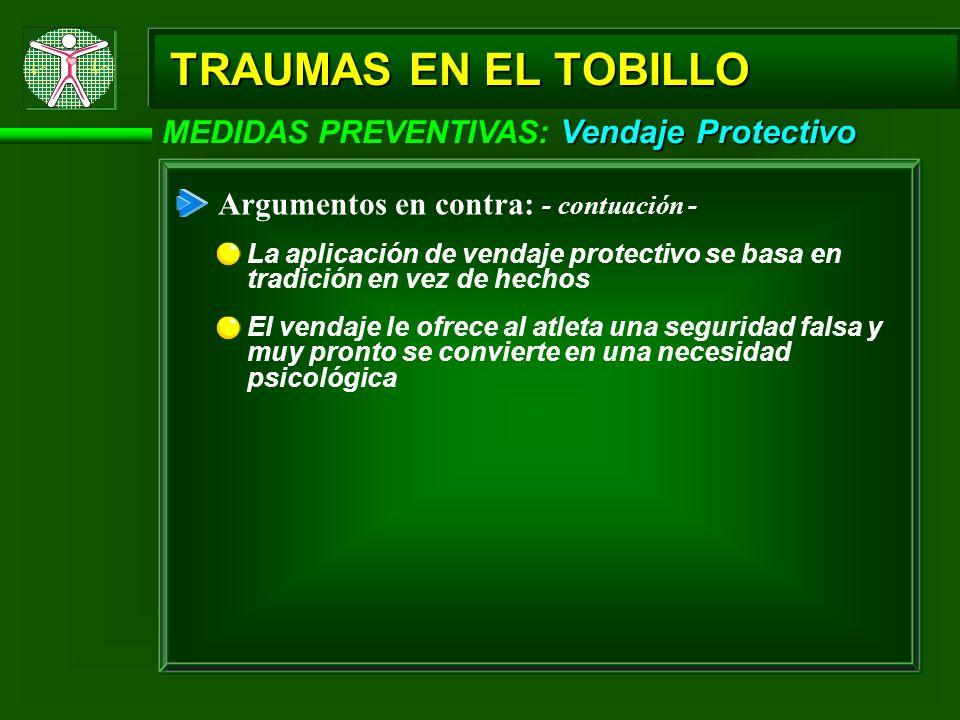 Vendaje Protectivo MEDIDAS PREVENTIVAS: Vendaje Protectivo Argumentos en contra: - contuación - La aplicación de vendaje protectivo se basa en tradici