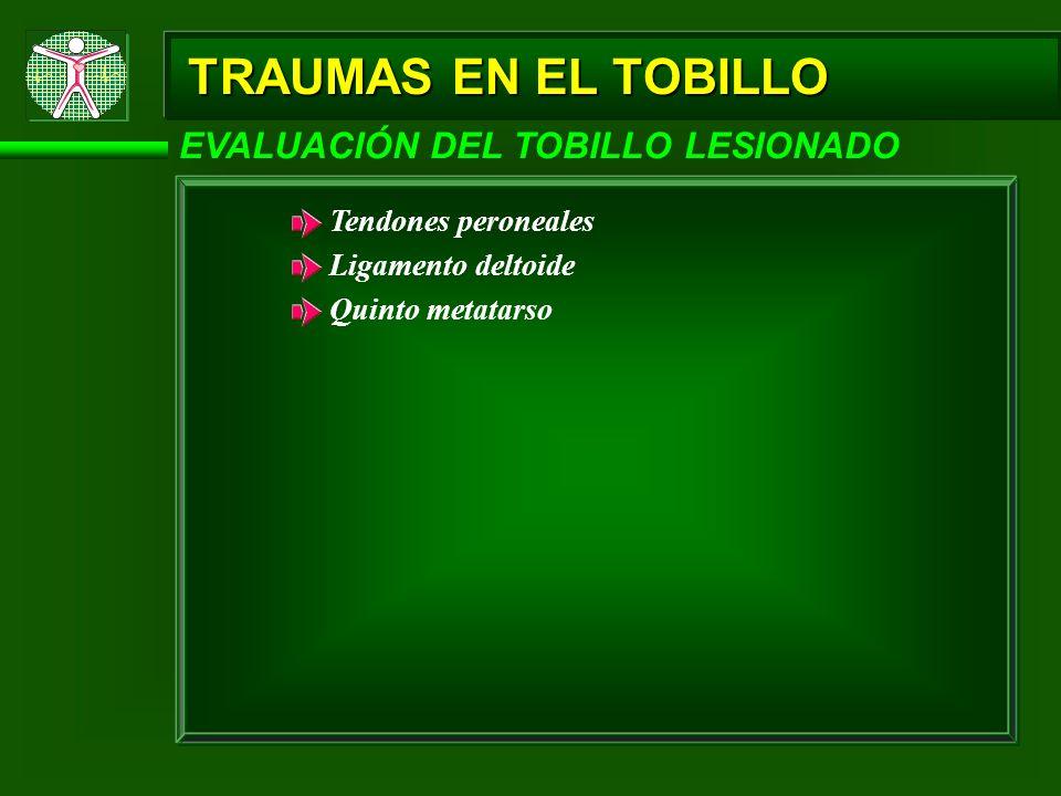 TRAUMAS EN EL TOBILLO EVALUACIÓN DEL TOBILLO LESIONADO Palpación: Determinar el grado de inflamación, ternesa (área sensible al tacto) o crepitación