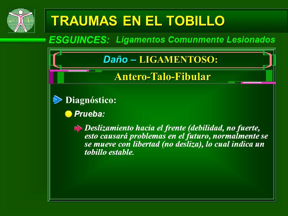 TRAUMAS EN EL TOBILLO ESGUINCES: Ligamentos Comunmente Lesionados Daño – LIGAMENTOSO: Antero-Talo-Fibular Diagnóstico: Prueba: Deslizamiento hacia el