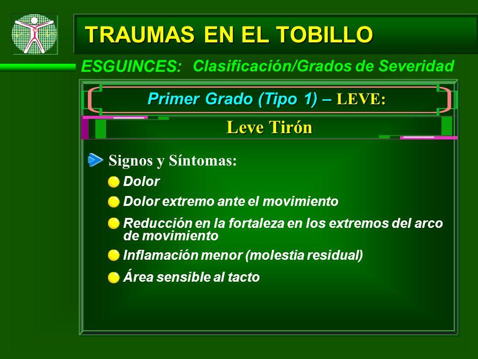 TRAUMAS EN EL TOBILLO ESGUINCES: Primer Grado (Tipo 1) – LEVE: Signos y Síntomas: Dolor Leve Tirón Clasificación/Grados de Severidad Dolor extremo ant