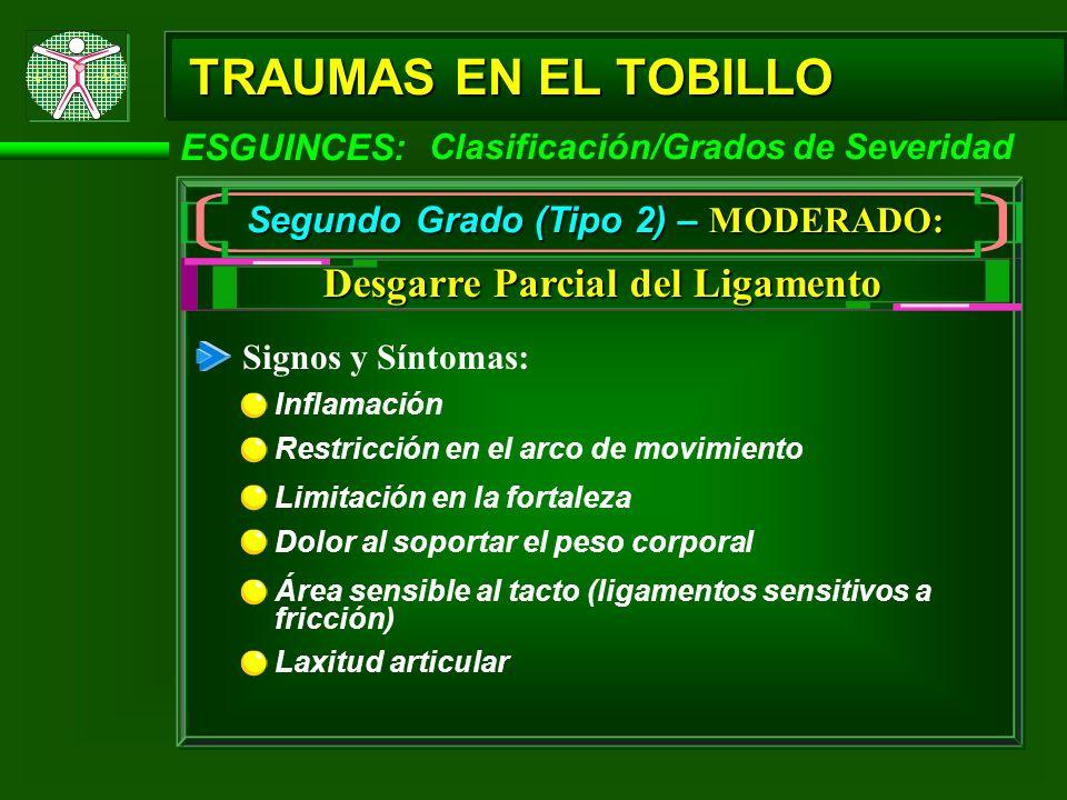 TRAUMAS EN EL TOBILLO ESGUINCES: Segundo Grado (Tipo 2) – MODERADO: Signos y Síntomas: Inflamación Desgarre Parcial del Ligamento Clasificación/Grados