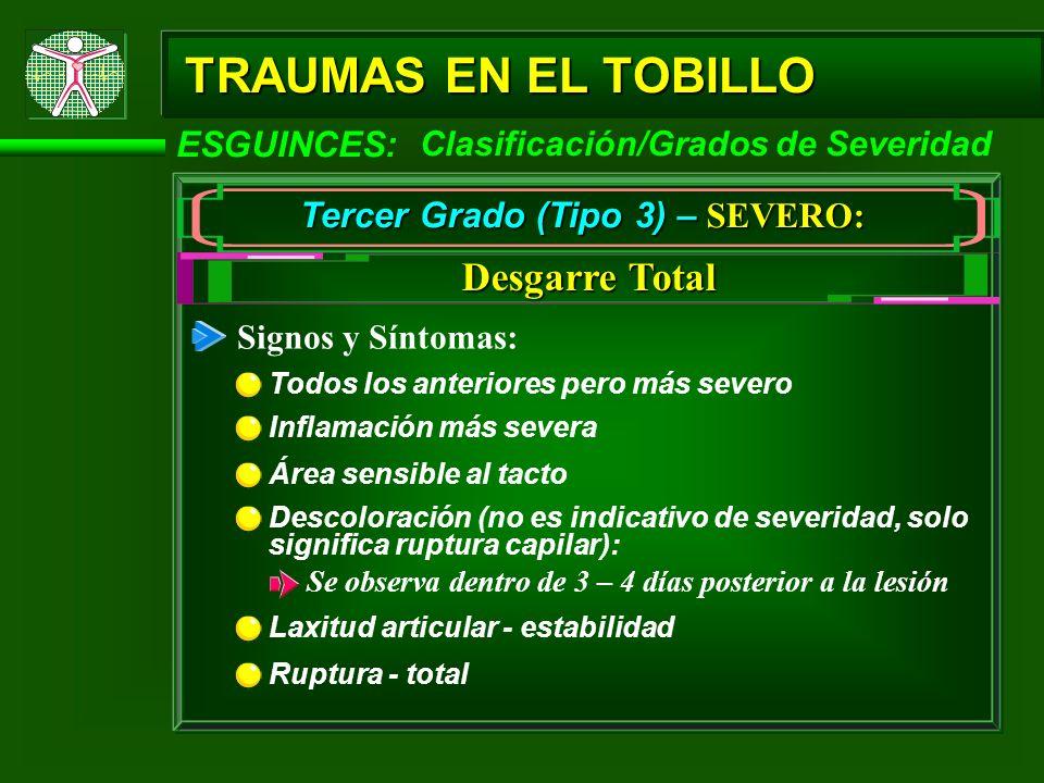 TRAUMAS EN EL TOBILLO ESGUINCES: Tercer Grado (Tipo 3) – SEVERO: Desgarre Total Clasificación/Grados de Severidad Tratamiento: Inmovilización Puede ser indicativo cirugía