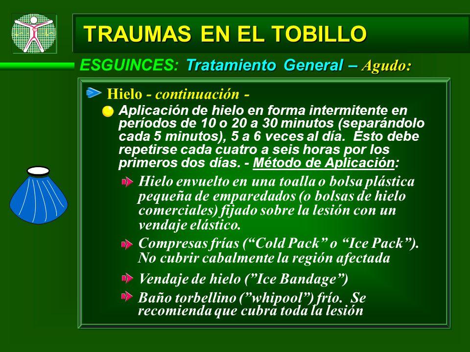 Tratamiento General – Agudo: ESGUINCES: Tratamiento General – Agudo: TRAUMAS EN EL TOBILLO Hielo - continuación - Aplicación de hielo en forma intermi