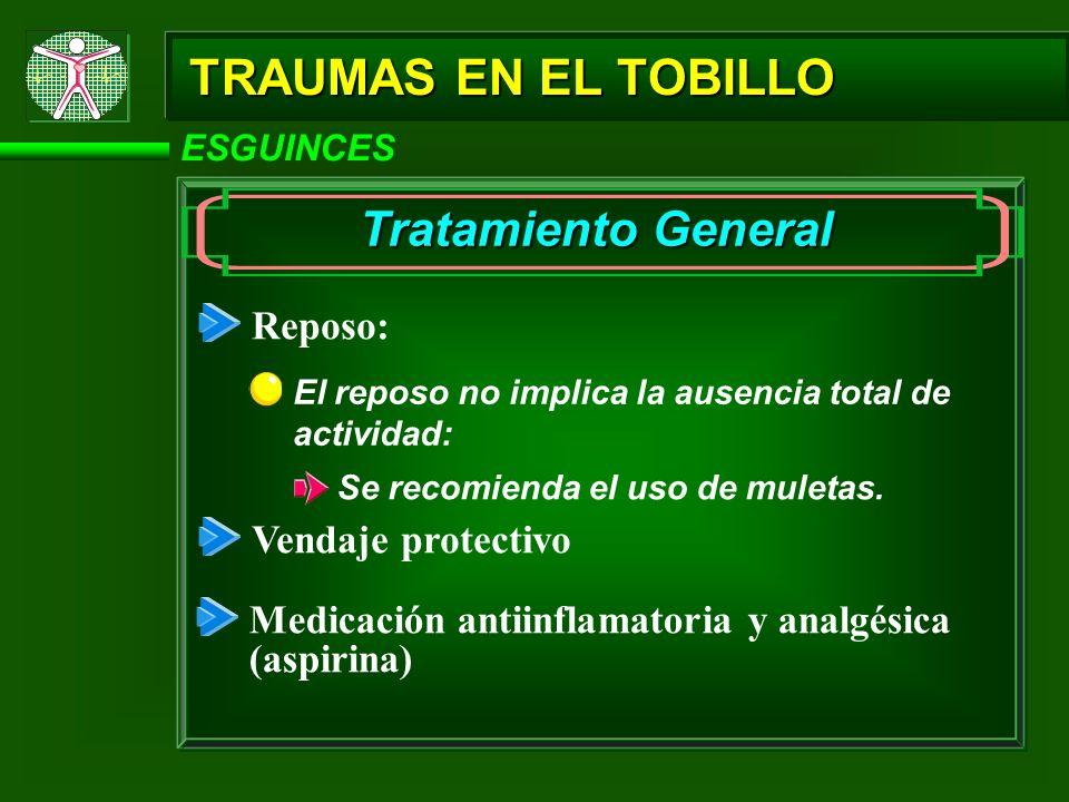 ESGUINCES TRAUMAS EN EL TOBILLO Tratamiento General Reposo: El reposo no implica la ausencia total de actividad: Se recomienda el uso de muletas. Vend