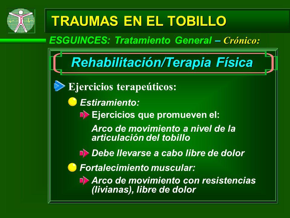 – Crónico: ESGUINCES: Tratamiento General – Crónico: TRAUMAS EN EL TOBILLO Rehabilitación/Terapia Física Ejercicios terapeúticos: Fortalecimiento musc