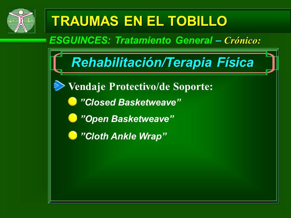– Crónico: ESGUINCES: Tratamiento General – Crónico: TRAUMAS EN EL TOBILLO Rehabilitación/Terapia Física Vendaje Protectivo/de Soporte: Closed Basketw