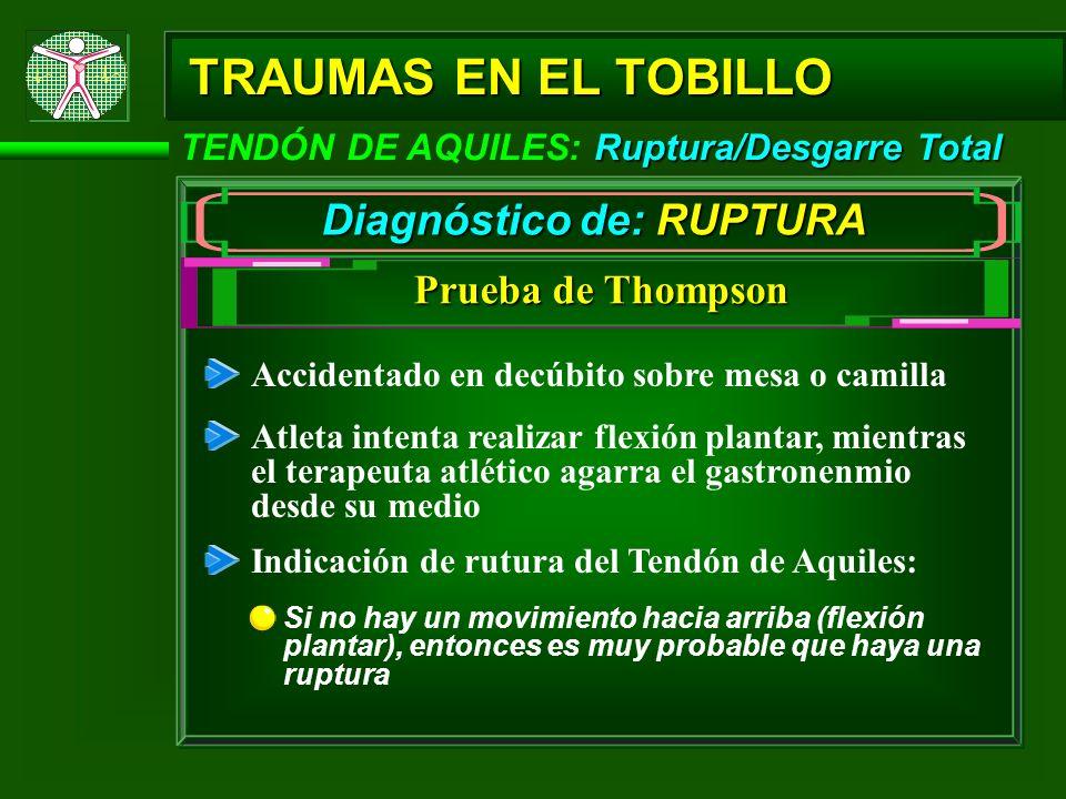 Ruptura/Desgarre Total TENDÓN DE AQUILES: Ruptura/Desgarre Total TRAUMAS EN EL TOBILLO Diagnóstico de: RUPTURA Accidentado en decúbito sobre mesa o ca