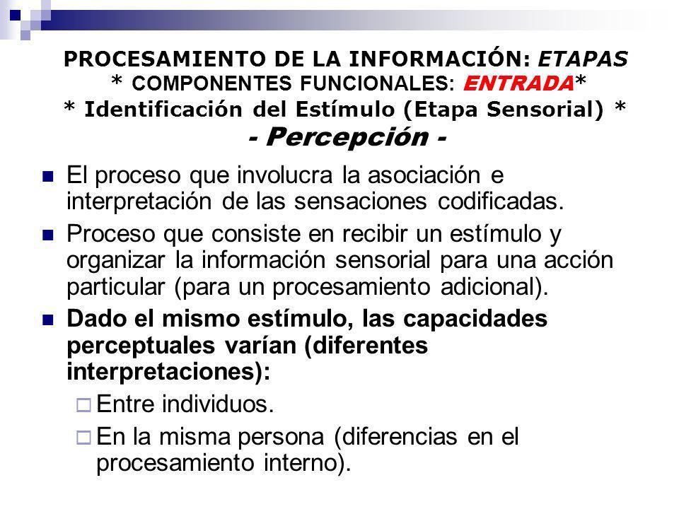 PROCESAMIENTO DE LA INFORMACIÓN: ETAPAS * COMPONENTES FUNCIONALES: ENTRADA * * Identificación del Estímulo (Etapa Sensorial) * - Percepción - El proce