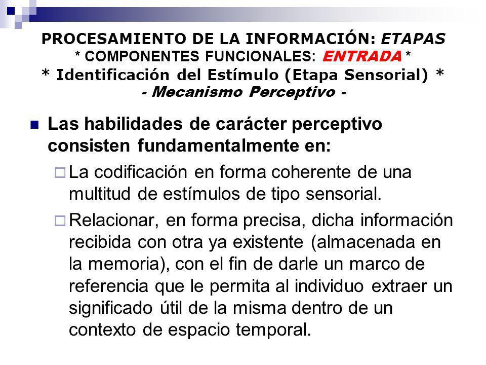PROCESAMIENTO DE LA INFORMACIÓN: ETAPAS * COMPONENTES FUNCIONALES: ENTRADA * * Identificación del Estímulo (Etapa Sensorial) * - Mecanismo Perceptivo