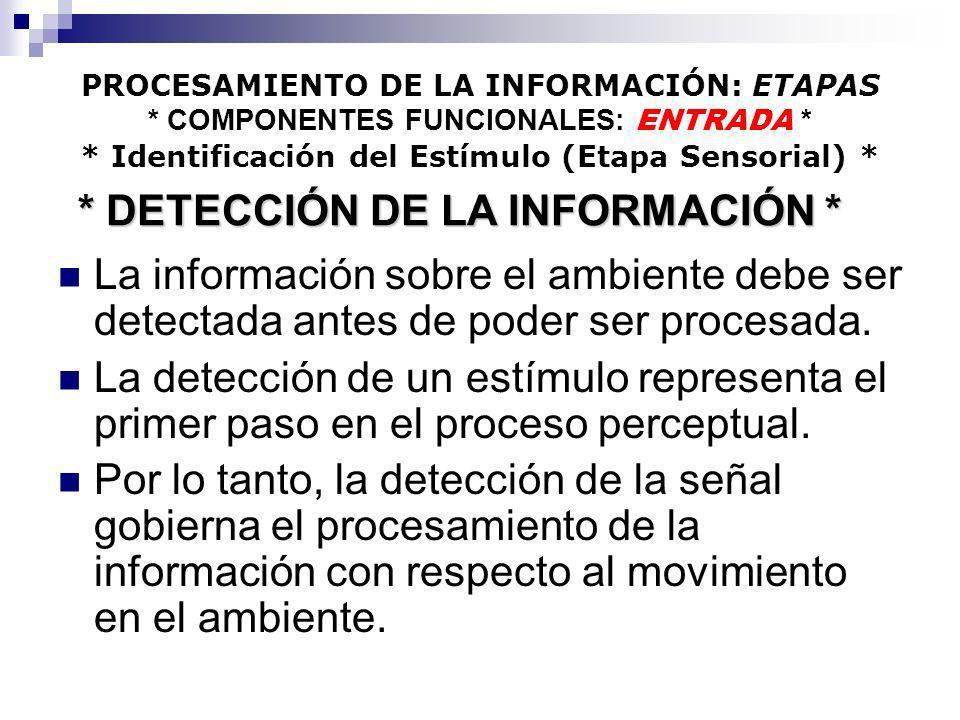 PROCESAMIENTO DE LA INFORMACIÓN: ETAPAS * COMPONENTES FUNCIONALES: ENTRADA * * Identificación del Estímulo (Etapa Sensorial) * La información sobre el